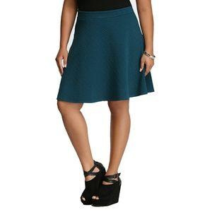Torrid Textured Skater Skirt Blue Green Teal